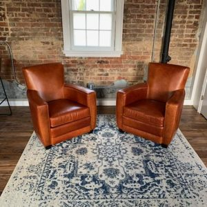 Pair of Ethan Chairs in Mont Blanc Cognac