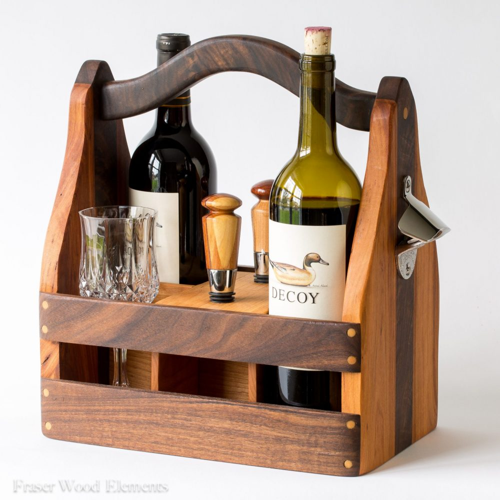 Wooden Beer And Wine Carrier Fraser Wood Elements Fredericksburg Virginia American Leather Fraser Made Gifts Accessories Custom Work