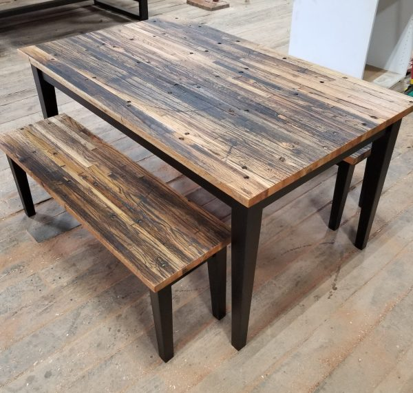Reclaimed Cargo Dining table with black base