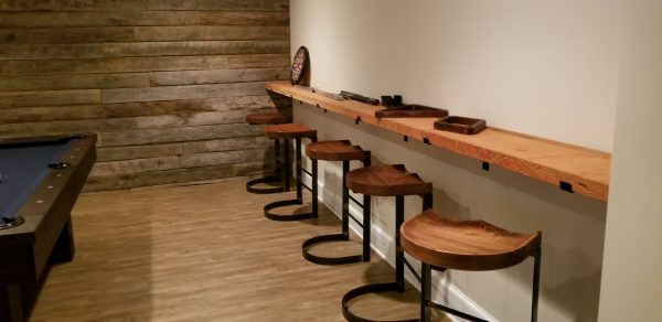 Cantilever 2.0 Walnut stools in basement 2