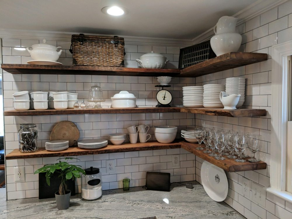 Reclaimed wood for floating shelving in kitchen e