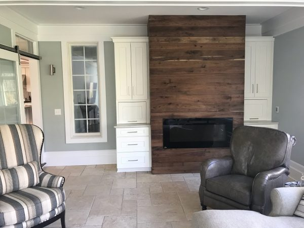 Walnut Fireplace Accent Wall