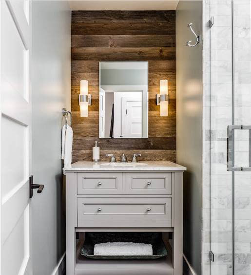 Grey Brown Barn Siding Bathroom