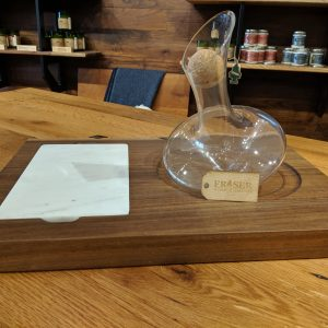 decanter and marble board