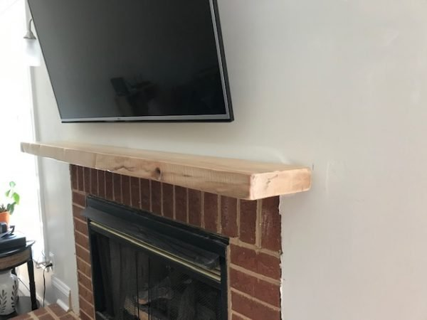 Side View of live edge maple mantel