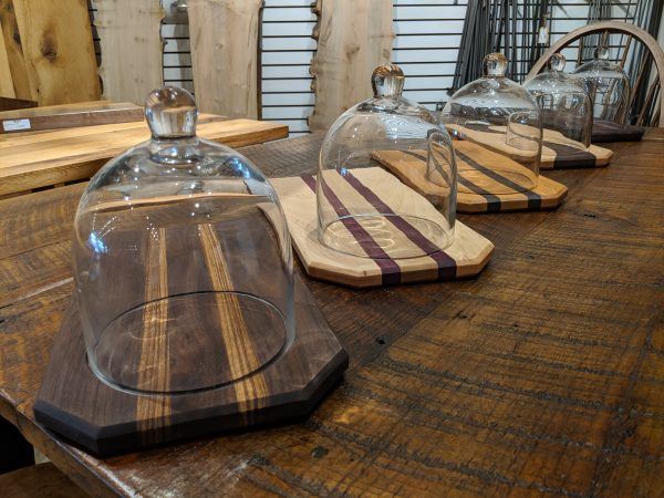 Assorted woods cheese and bread board with glass dome 2