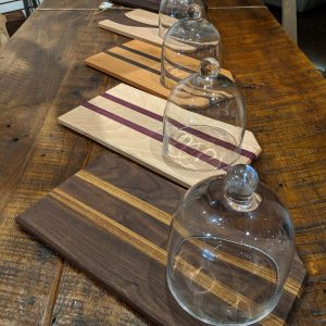 Assorted woods cheese and bread board with glass dome 3