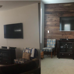 Before after Walnut feature wall