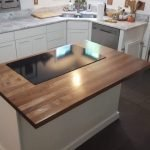 Walnut Island with cooktop insert