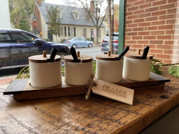 Ceramic Condiment Jars and Wooden Tray
