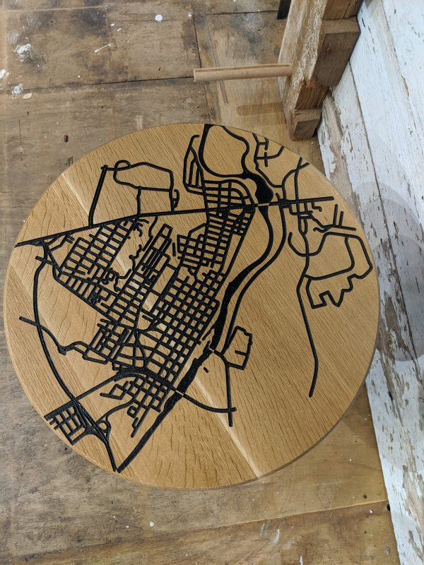 Fredericksburg Map End Table Top