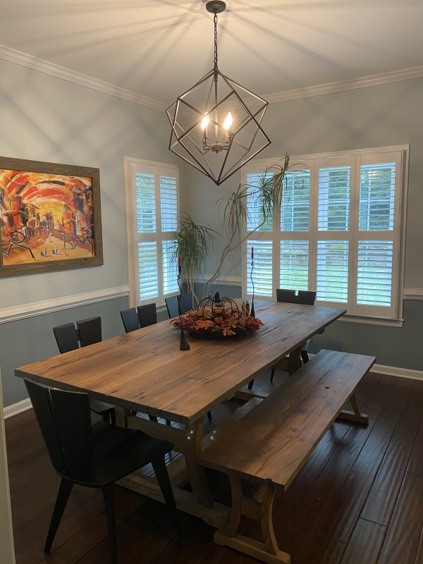 Haszar Dining table paired with Copeland Axis Chairs in Seared Ash