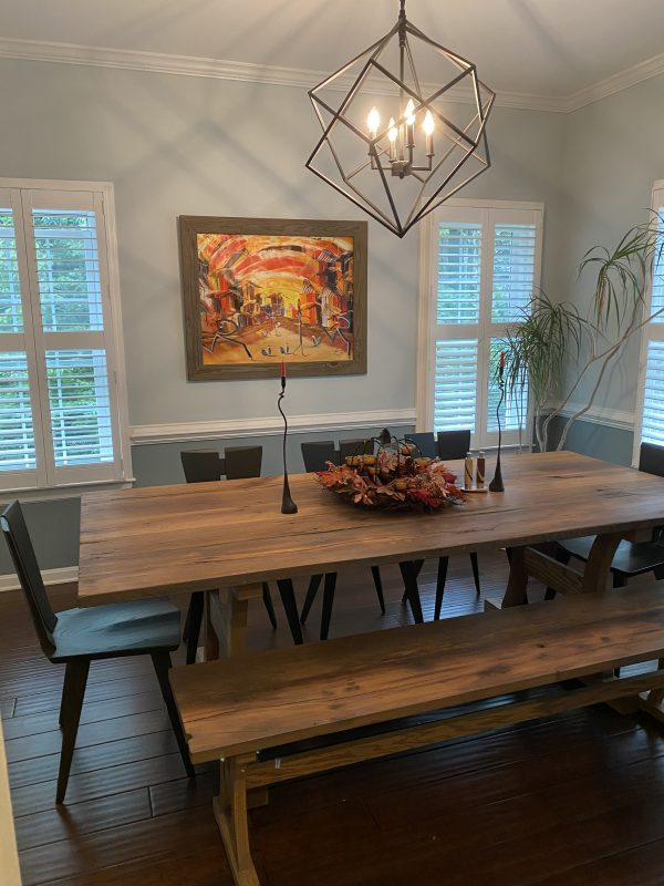 Haszar Reclaimed Oak dining table with Axis chair seared ash finish