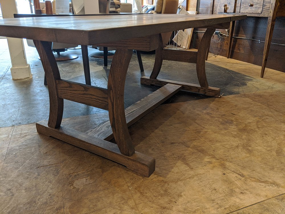 NEW PRODUCT! THE HUSZAR: A TRANSITIONAL TRESTLE DINING TABLE