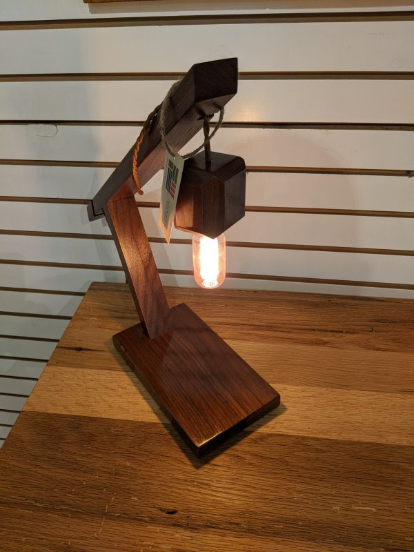 Perfectly sized desk lamp made of walnut.