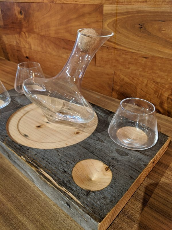 Close up of decanter and glasses