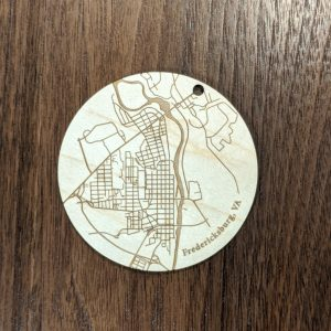 Fredericksburg City Map Ornament