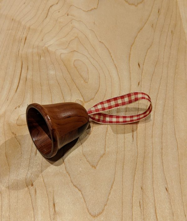 Turned Wooden Christmas Bell Ornament