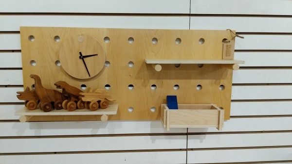 Maple Wall Organizer two shelves and clock