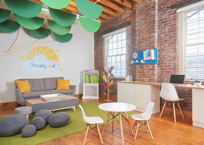 Thriveworks Custom Desks, Cabinets, Visual Art, LED Therapy Tree