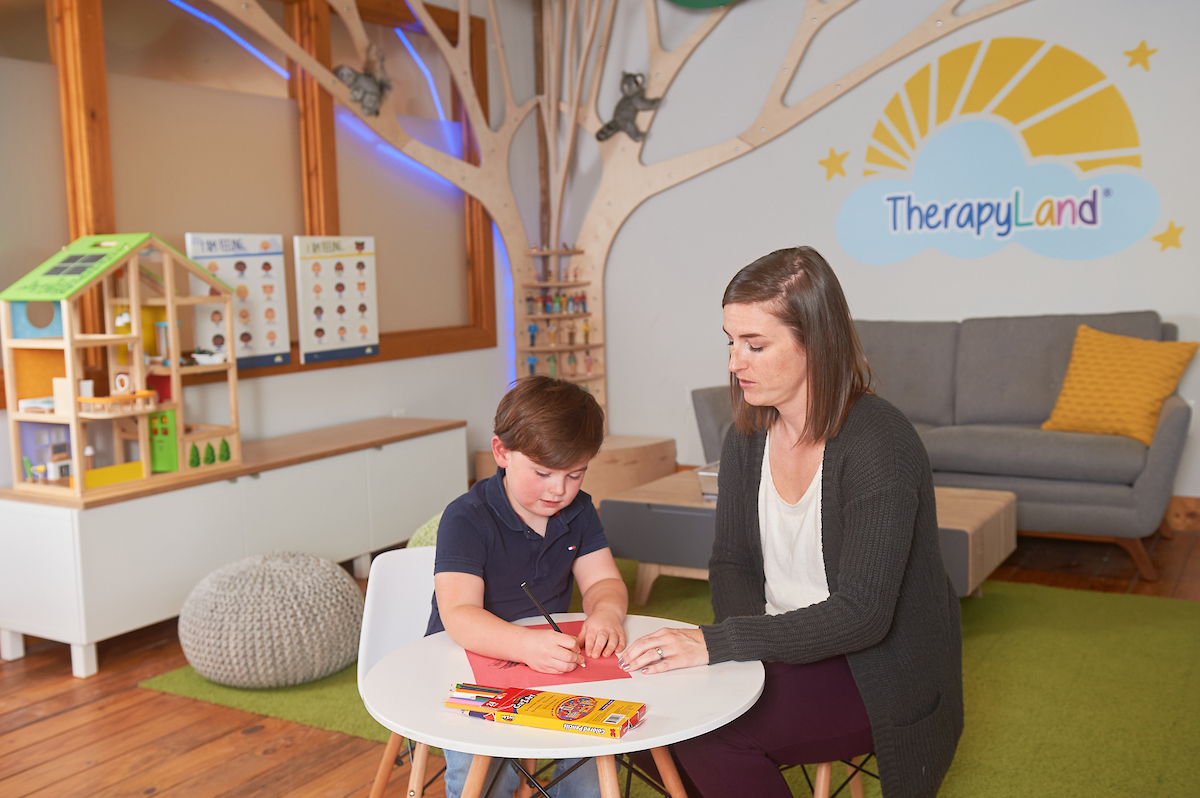 Thriveworks custom desks, cabinets and visual art pieces such as the LED Therapy tree