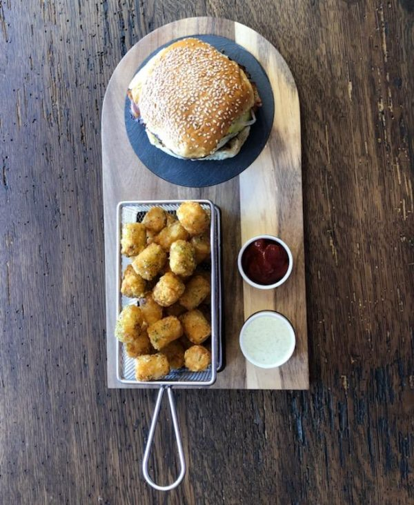 Top View of burger tray and basket