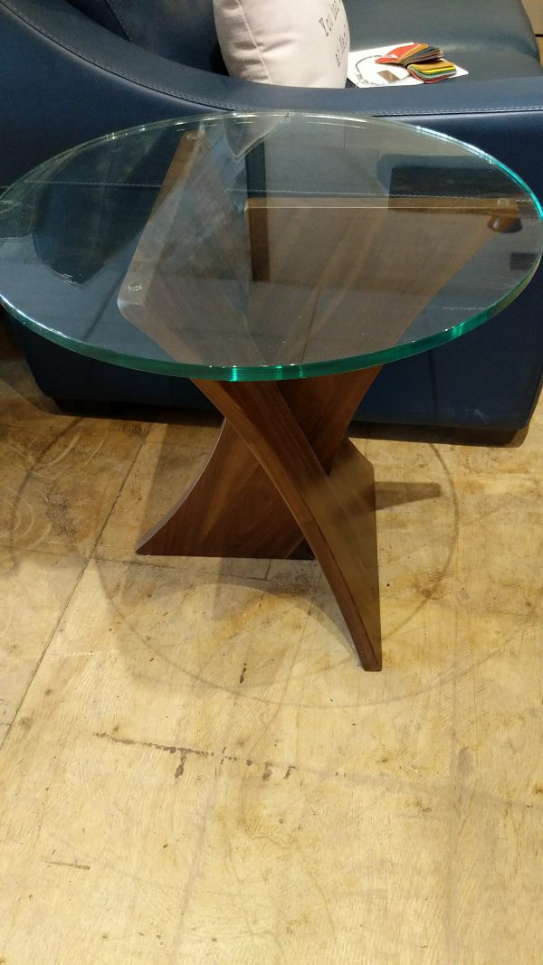 24 inch tall walnut and glass end table