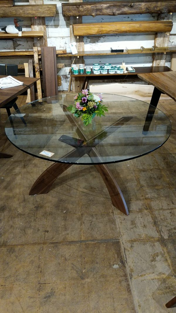 54 inch round walnut with glass top Dining Table