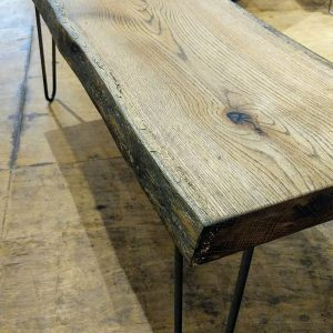 Live Edge Oak Bench with Hairpin and Black Oil