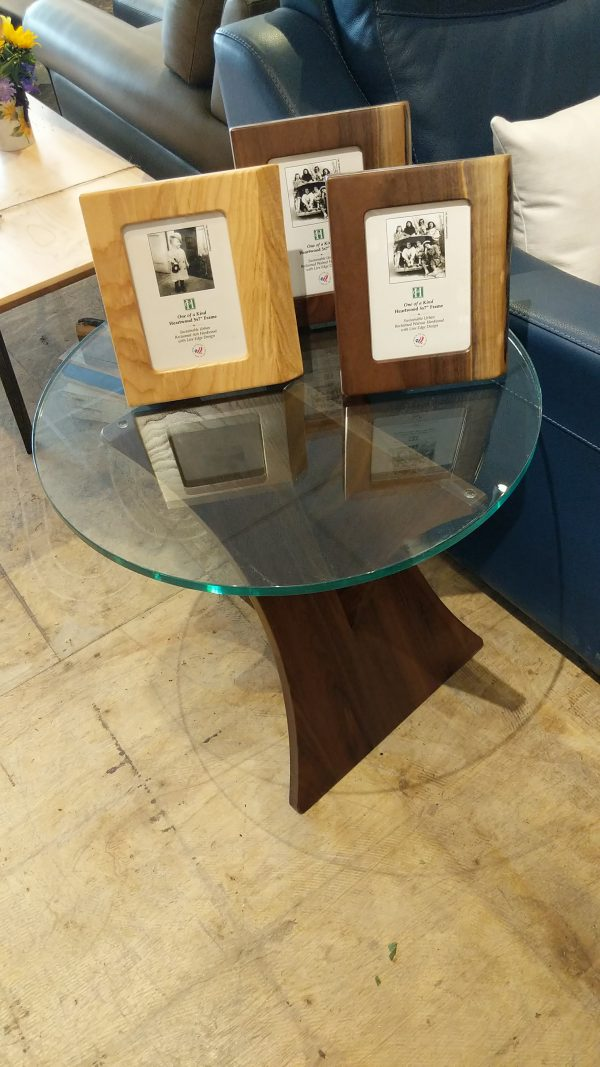 Planes Walnut End Table with Glass Top