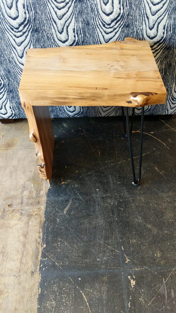 Waterfal Edge in Maple End Table Side View Fraser Wood Elements