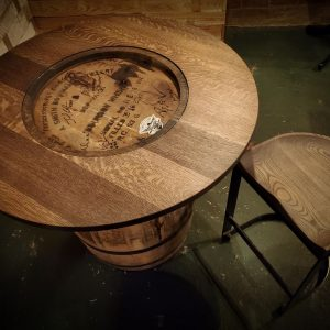 Whiskey Barrel Top and Stool 2MP
